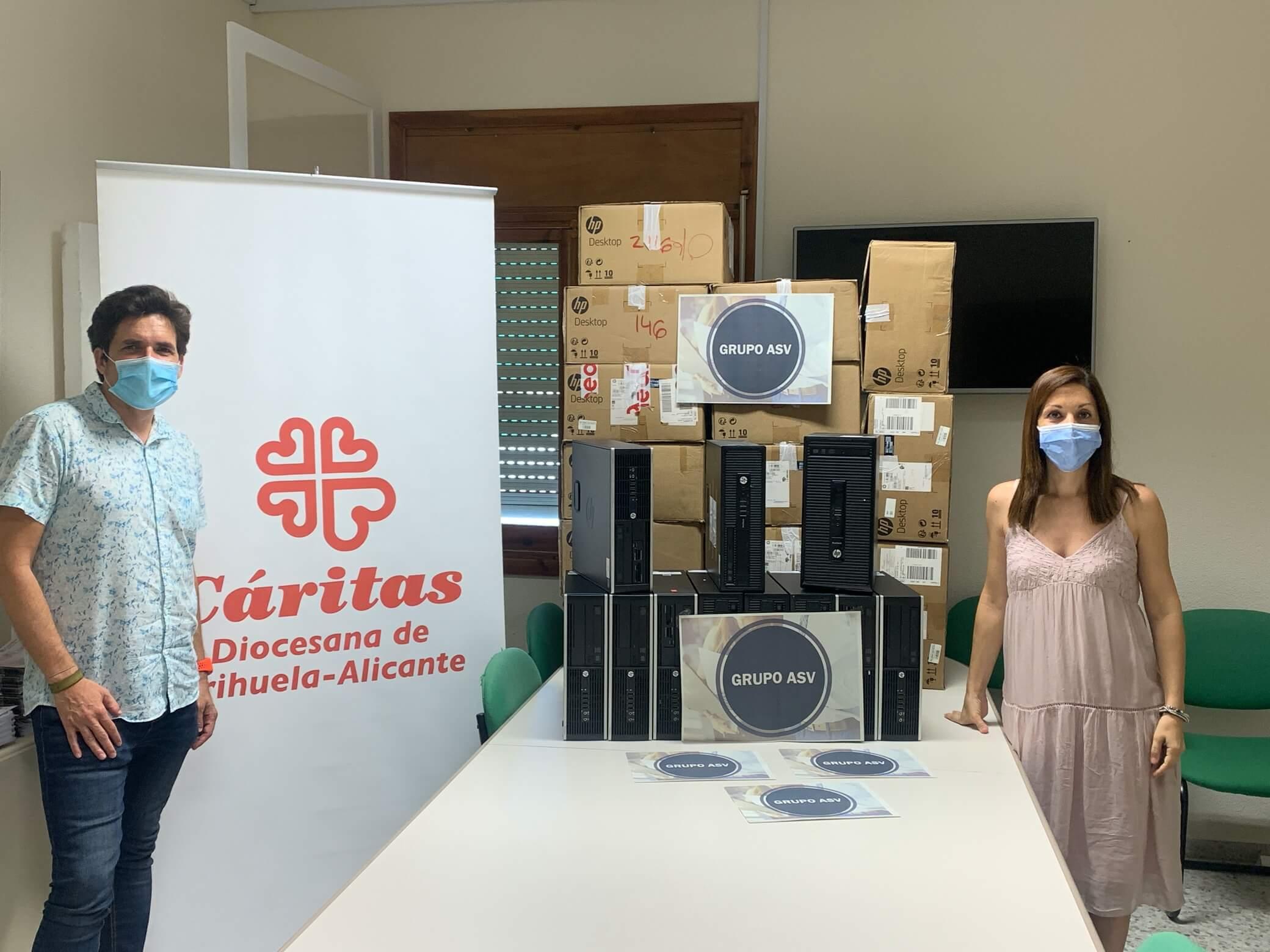 GRUPO ASV dona a Cáritas un centenar de equipos informáticos para fomentar la empleabilidad